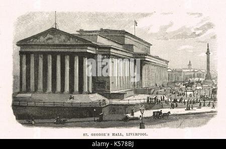 St George's Hall, Liverpool, Circa 1854 - Stock Photo
