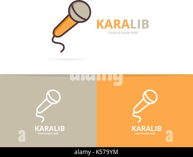 Vector of microphone logo. Unique karaoke and stand up comedy logotype design template. - Stock Photo