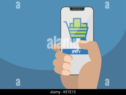 Mobile online shopping concept displayed on frameless touchscreen as vector illustration. Hand holding bezel free - Stock Photo