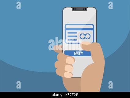 Mobile payment and credit card concept displayed on frameless touchscreen as vector illustration. Hand holding bezel - Stock Photo
