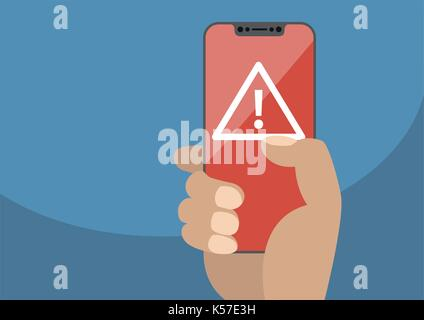 Attention or alert concept displayed on frameless touchscreen as vector illustration. Hand holding bezel free smartphone - Stock Photo