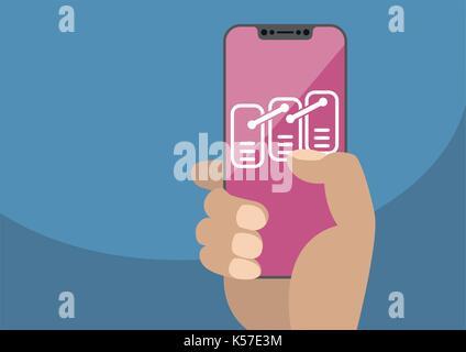 Blockchain or data model concept on frameless touchscreen as vector illustration. Hand holding bezel free smartphone - Stock Photo