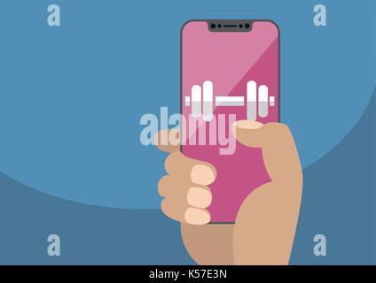 Health or fitness app concept on frameless touchscreen as vector illustration. Hand holding bezel free smartphone - Stock Photo