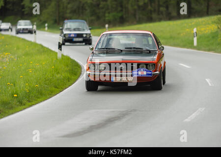 Brilon, Germany - May 13th in 2017: Oldtimer Sauerland round trip Opel Manta - Stock Photo