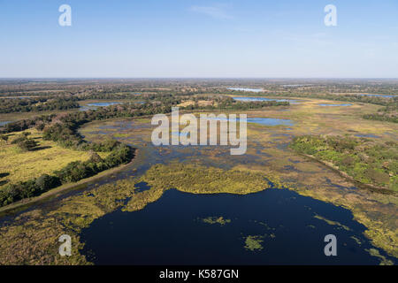Lakes and wetlands at Nhecolandia region of South Pantanal, Brazil - Stock Photo