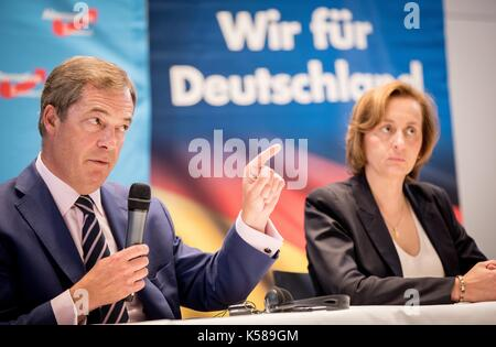 Berlin, Germany. 08th Sep, 2017. Chairwoman of the AfD-Berlin Beatrix von Storch and Europsceptic Nigel Farage from - Stock Photo