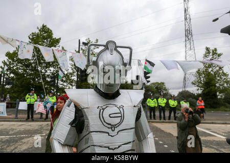 London, UK. 8th Sept, 2017. Protest at the DSEI Arms Fair. Striking Super-Villains from all over the universe gather - Stock Photo