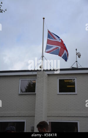 Goodwood Revival Meeting 2017 - flags flown at half mast following of the death of the Duke of Richmond, the father - Stock Photo