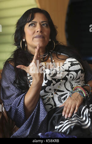Mexican singer Lila Downs poses during an interview with Spanish news agency EFE on the occassion of the release - Stock Photo