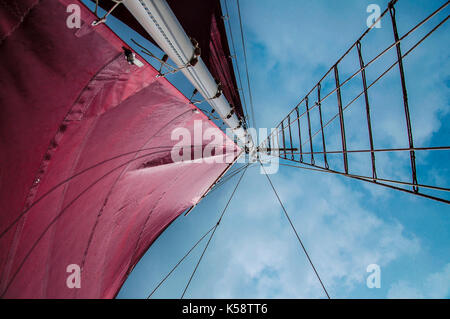 Traditional Gaff Rigged Sailing Boat Close up of Sails and Main Mast against the sky. - Stock Photo