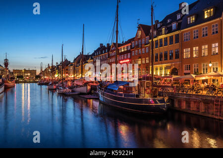 Nyhavn in Copenhagen Denmark - Stock Photo