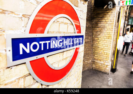 London Underground sign, London Underground Notting Hill Gate sign, Notting Hill Gate underground station sign, - Stock Photo