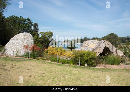 SYDNEY,NSW,AUSTRALIA-NOVEMBER 20,2016: Rock sculptures and cultivated plants by Farm Cove at the Royal Botanic Gardens - Stock Photo