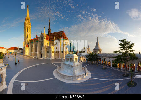 Morning view of Matthias church in historic city centre of Buda, Hungary. - Stock Photo