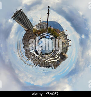 Little planet 360 degree sphere. Panoramic view of Rambla de Mar in Barcelona city. Spain - Stock Photo