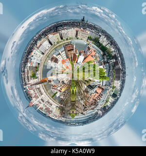 Little planet 360 degree sphere. Panoramic view of Budapest city. Hungary - Stock Photo