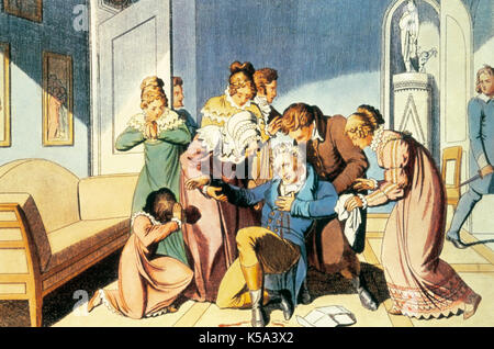 Attack done by the student Karl Ludwing Sand against the German comedy writer August von Kotzebue (1761-1819), on - Stock Photo