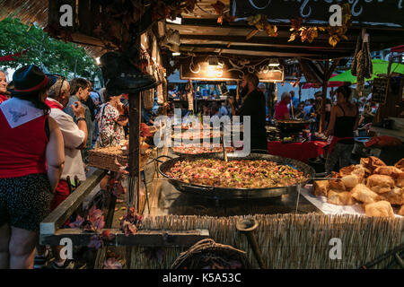 Street food seller at the Feria, Beziers, Herault, France. - Stock Photo