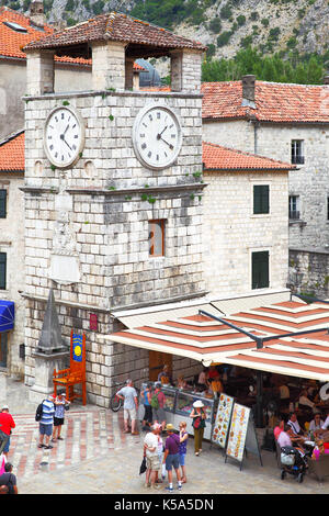 Kotor, Montenegro - June 15, 2017: The Tower With Clock on Square of the Arms in Old town of Kotor - Stock Photo