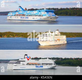 Stockholm, Sweden - July 25, 2017: Various passenger ships (Tallink, Silja Lines, Birka) in Baltic Sea - Stock Photo