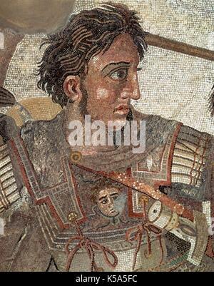 Alexander the Great (356 BC-323BC). King of Macedonia (336 BC-323 BC). Alexander the Great in the Battle of Isos - Stock Photo