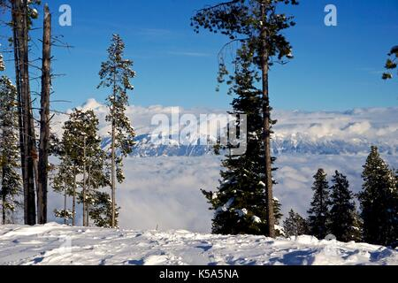 Top of snowy hill looking over cloud covered mountain range in winter - Stock Photo
