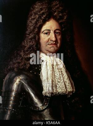Louis XIV (1638-1715). King of France (1643-1715). Portrait by Hyacinthe Rigaud, 1702. Hospital de Tavera. Toledo, - Stock Photo