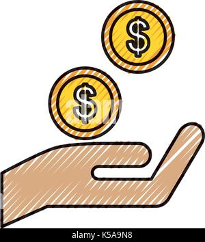hand with coins dollar money finance icon - Stock Photo
