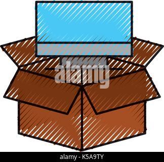 cardboard box computer storage system technology - Stock Photo
