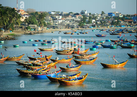 Fishing village harbor scenery in Mui Ne,Vietnam. - Stock Photo