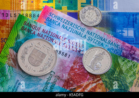 Bern, Switzerland:   Money of Switzerland. New 20- and 50-franc notes, which were introduced in 2017. - Stock Photo