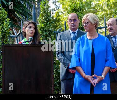 Rome, Italy. 08th Sep, 2017. President of the Italian Republic Sergio Mattarella lays a laurel crown at Porta San - Stock Photo