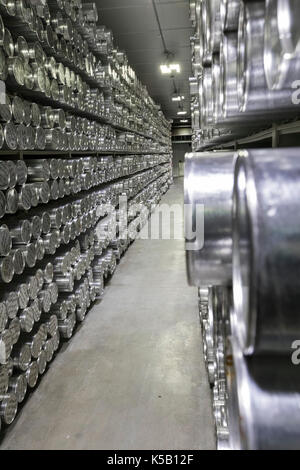 Denver, Colorado - Tubes holding ice cores stored at -36 degrees C (-33 degrees F) at the National Ice Core Laboratory. - Stock Photo