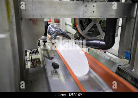 Denver, Colorado - An ice core from Greenland is prepared for cutting at the National Ice Core Laboratory. The lab - Stock Photo