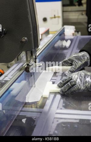 Denver, Colorado - Ice is cut from an ice core from Greenland at the National Ice Core Laboratory. The lab stores - Stock Photo