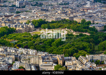 Summer aerial view on the Luxembourg Garden, Luxembourg Palace and rooftops in the center of Paris. 6th Arrondissement, - Stock Photo