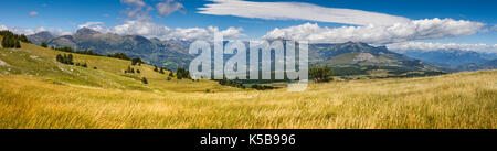 Panoramic view on the Champsaur Valley in summer from Gleize Pass. Hautes-Alpes, Southern French Alps, Paca Region, - Stock Photo
