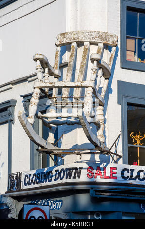 Elegant Mfi Homeworks Furniture Store Closing Down Clearance Sale Uk A  Large Rocking Chair On The Front Facade Of Old And New Furniture Store On  Chalk With ...