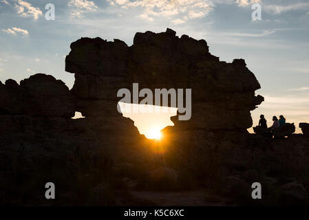 La Fenêtre de l'Isalo or Isalo windo, at sunset, Isalo National Park, Madagascar - Stock Photo
