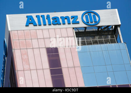 A logo sign outside of a facility occupied by Allianz SE in Barcelona, Spain on August 24, 2017. - Stock Photo