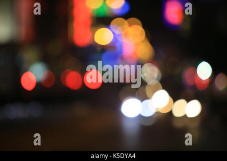 City night and dusk background in hong kong road - Stock Photo