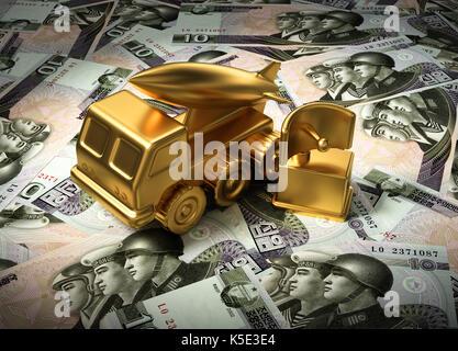 Gold Missile System And Radar On North Korean Wons. 3D Illustration. - Stock Photo