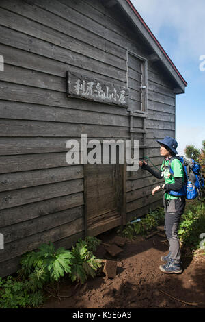 Emergency hut on Mount Rishiri, Rishiri Island, Hokkaido, Japan - Stock Photo