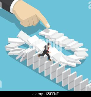 Flat 3d isometric businessman running away on domino that falling by big hand. Domino effect and business crisis - Stock Photo