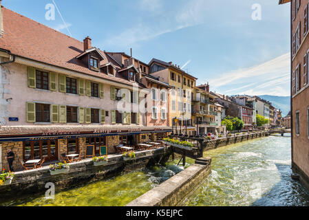 Annecy, France - May 25, 2016: View of the canal in city centre of Annecy, capital of Haute Savoie province in France. - Stock Photo