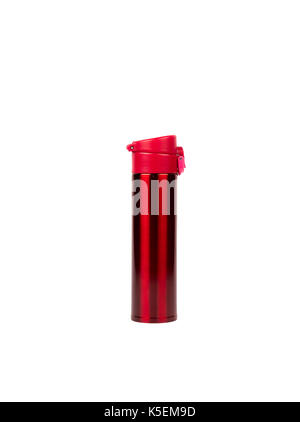 Red thermos bottle isolated on white background with copy space - Stock Photo