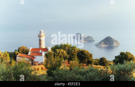 Lighthouse Gelidonya Peninsula in spring. Beautiful landscapes outdoors in Turkey - Stock Photo