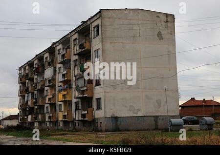 Communist era apartment block housing, Shishmantsi, Plovdiv province, Bulgaria, eastern Europe - Stock Photo