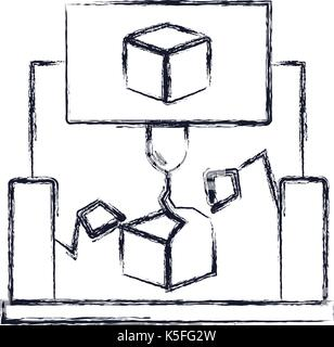 cube 3D design with robotic hands monochrome blurred silhouette - Stock Photo