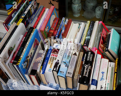 Second hand books for sale at a charity shop in Wadebridge, Cornwall. - Stock Photo